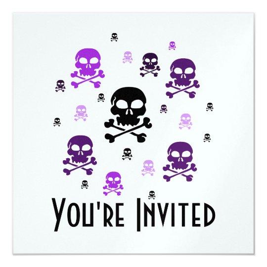 Cartoon Skulls Collage - Purple Card
