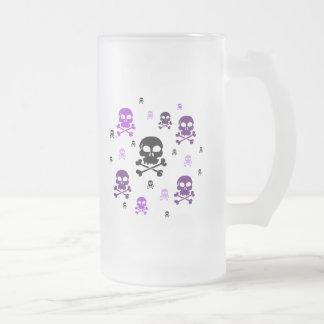 Cartoon Skulls Collage - Purple Frosted Glass Beer Mug