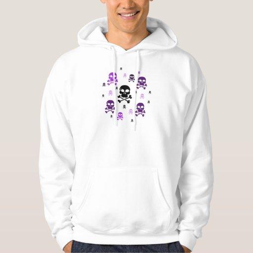 Cartoon Skulls Collage - Purple Hoodie