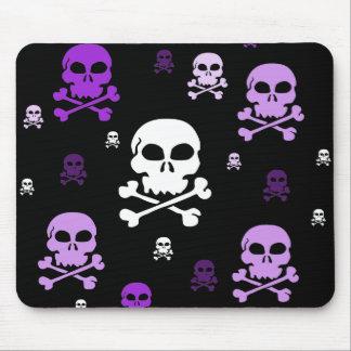 Cartoon Skulls Collage - Purple Mouse Pad