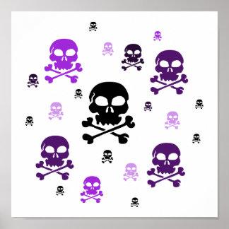 Cartoon Skulls Collage - Purple Posters