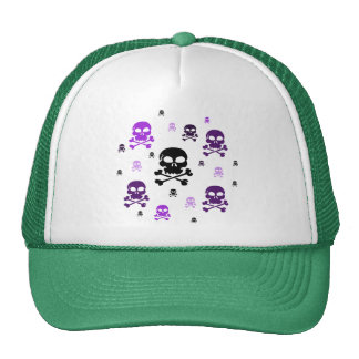Cartoon Skulls Collage - Purple Trucker Hat