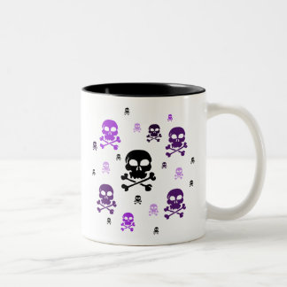 Cartoon Skulls Collage - Purple Two-Tone Coffee Mug