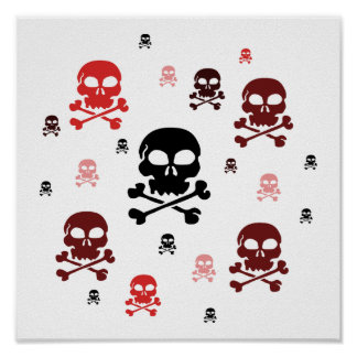 Cartoon Skulls Collage - Red Posters