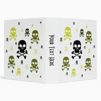 Cartoon Skulls Collage - Yellow 3 Ring Binder