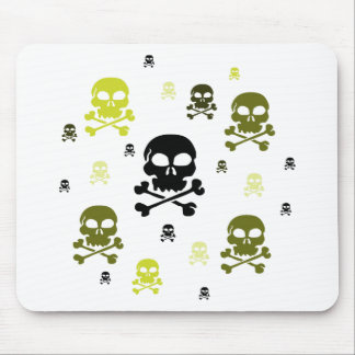 Cartoon Skulls Collage - Yellow Mouse Pad