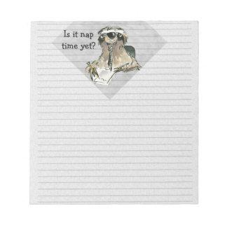 Cartoon Sloth Nap Time Memo Notepads
