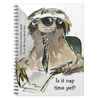 Cartoon Sloth Nap Time Notebook