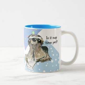 Cartoon Sloth Nap Time Two-Tone Coffee Mug