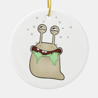 cartoon slug Double-Sided ceramic round christmas ornament