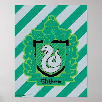 Cartoon Slytherin Crest Poster