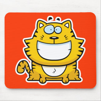Cartoon Smiling Cat Mouse Pad