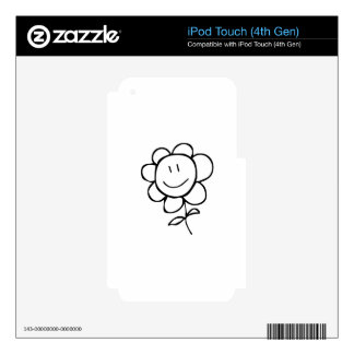 Cartoon Smiling Flower Skins For iPod Touch 4G