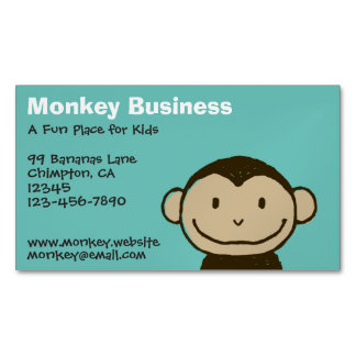 Cartoon Smiling Monkey Face Magnetic Business Card