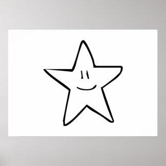 Cartoon Smiling Star Poster