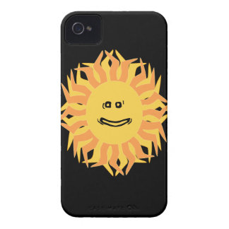 Cartoon Smiling Sun Graphic Changeable Color BG iPhone 4 Case-Mate Cases