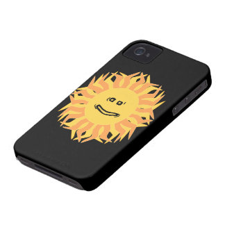 Cartoon Smiling Sun Graphic Changeable Color BG iPhone 4 Covers