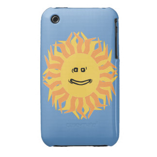 Cartoon Smiling Sun Graphic Changeable Color BG Case-Mate iPhone 3 Cases