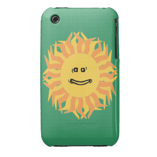 Cartoon Smiling Sun Graphic Changeable Color BG iPhone 3 Case-Mate Case