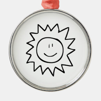 Cartoon Smiling Sun Christmas Tree Ornament
