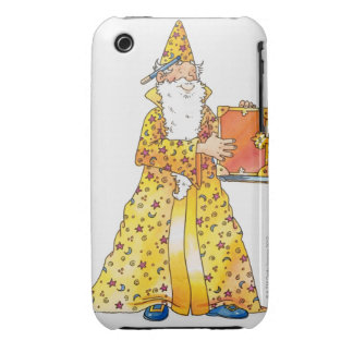 Cartoon, smiling wizard with long white beard, iPhone 3 cover