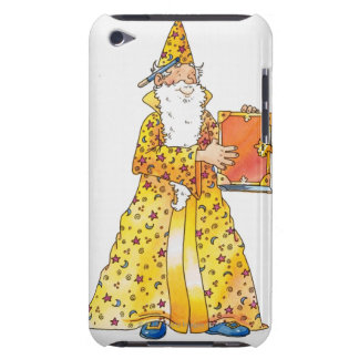 Cartoon, smiling wizard with long white beard, iPod Case-Mate case