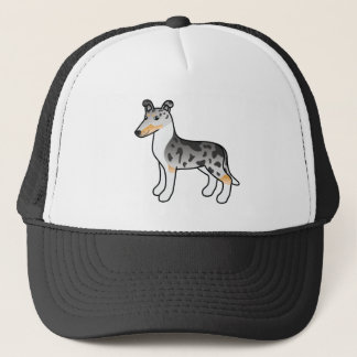 Cartoon Smooth Collie In Blue Merle Coat Trucker Hat