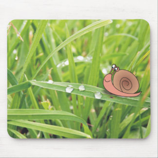 Cartoon Snail on Dewy Grass Photomontage Mousepads