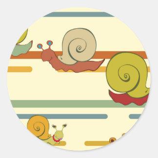 Cartoon Snail Race Classic Round Sticker