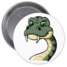 Cartoon Snake 4 Inch Round Button