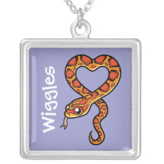 Cartoon Snake (add your pets name) Square Pendant Necklace