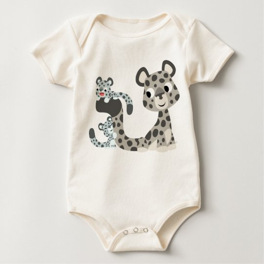 Cartoon Snow Leopard and Cubs Baby T-shirt