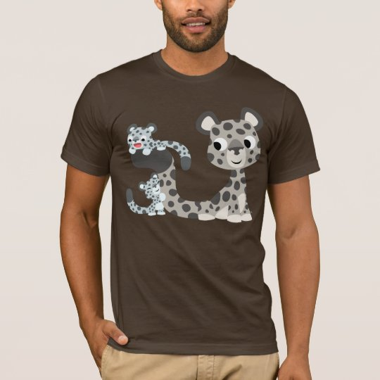 Cartoon Snow Leopard and Cubs T-shirt