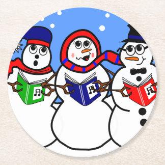 Cartoon Snow Man Singing Group Coaster