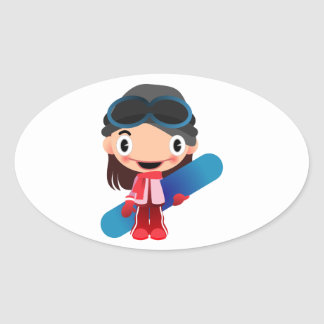 Cartoon Snowboarder Girl Oval Stickers