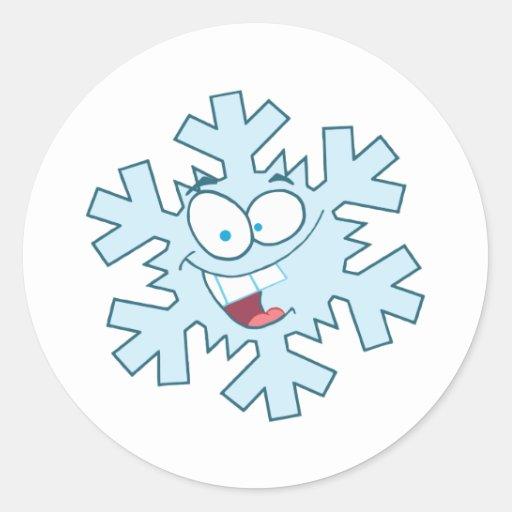 Cartoon Snowflake Round Sticker