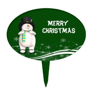 Cartoon Snowman Christmas Cake Toppers