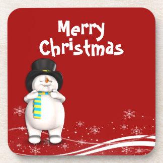 Cartoon Snowman Christmas Coaster