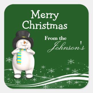 Cartoon Snowman Christmas Gift Tags Sticker