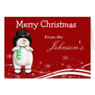 Cartoon Snowman Christmas Greeting Card