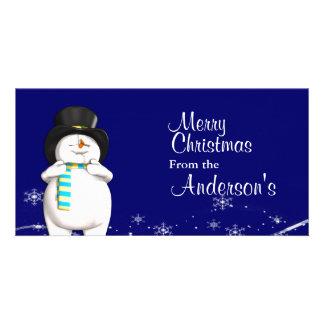 Cartoon Snowman Christmas Greetings Custom Photo Card