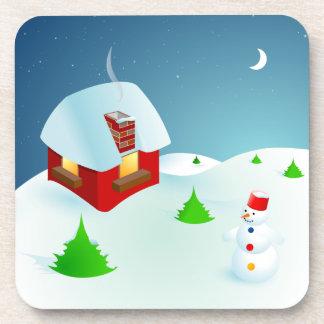 Cartoon Snowman Christmas Night coasters