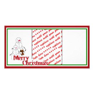 Cartoon Snowman Family Photo Frame Personalized Photo Card