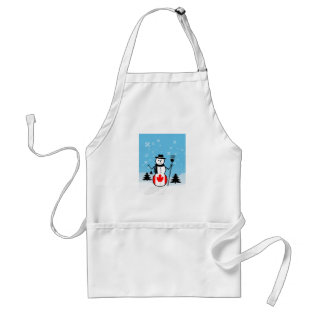 Cartoon Snowman In Field Of Snow And Canada Flag Adult Apron at Zazzle