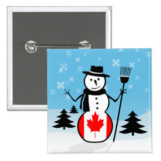 Cartoon Snowman in Field of Snow and Canada Flag Pinback Buttons