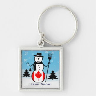 Cartoon Snowman in Field of Snow and Canada Flag Keychain