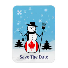 Cartoon Snowman In Field Of Snow And Canada Flag Magnet at Zazzle