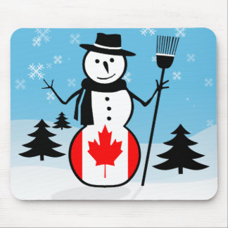 Cartoon Snowman in Field of Snow and Canada Flag Mousepad