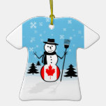 Cartoon Snowman in Field of Snow and Canada Flag Christmas Ornament