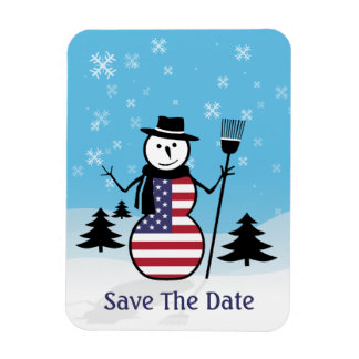 Cartoon Snowman in Field of Snow in US Flag Magnet